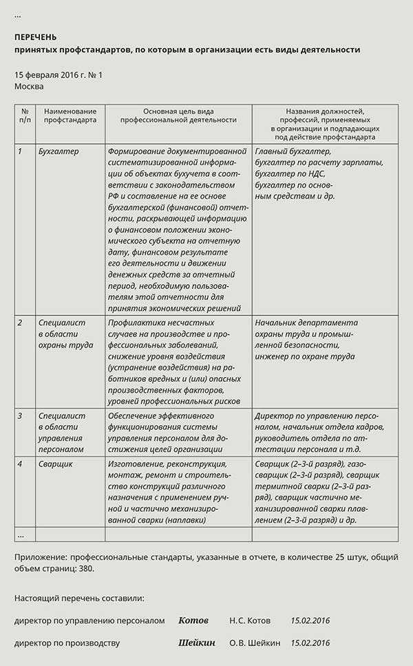 Отчет по результатам работы по внедрению профстандартов