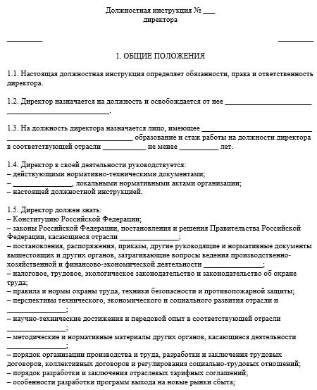 должностная инструкция заместителя генерального директора ооо скачать