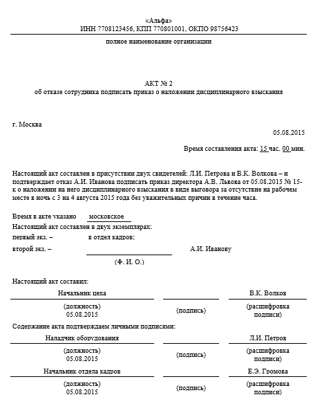 Акт об отказе сотрудника подписать приказ о наложении дисциплинарного взыскания