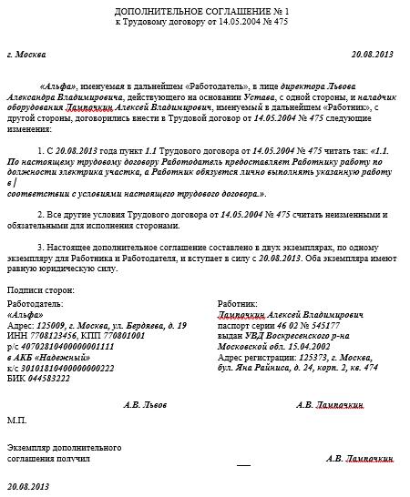 Дополнительное соглашение к трудовому договору об изменении к где взять для ип справку 2 ндфл