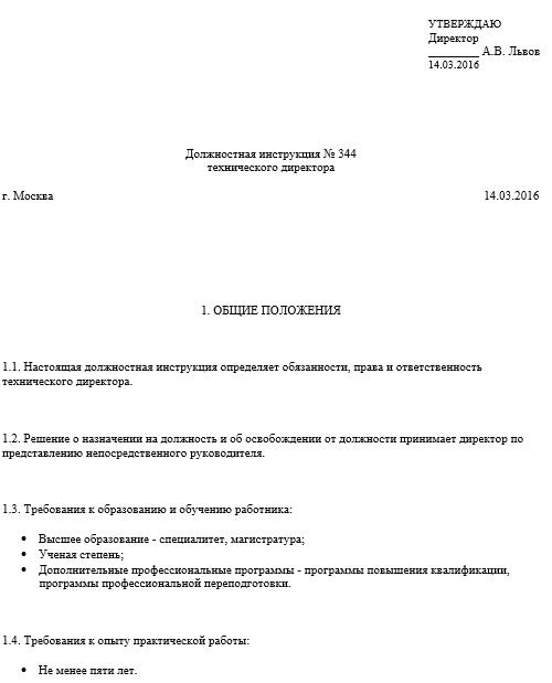 Скачать должностная инструкция генерального директора ооо