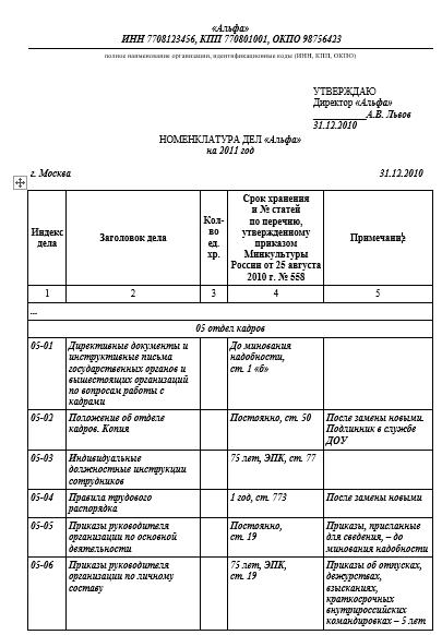 Образец приказа на передачу дел отдела кадров