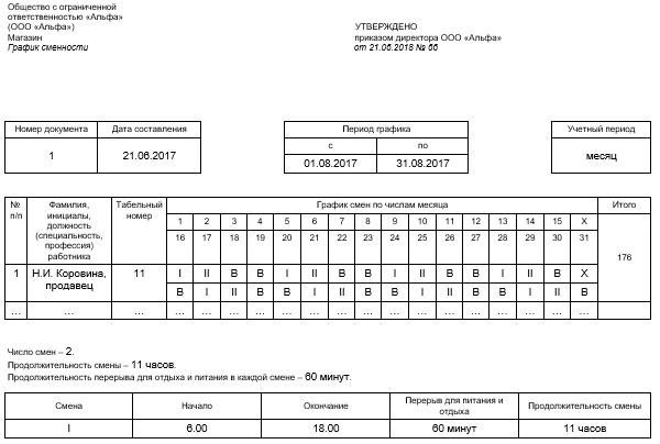 составление графика дежурств на месяц