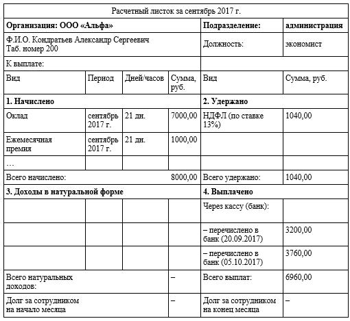 Расчетный листок на выплату зарплаты сотруднику