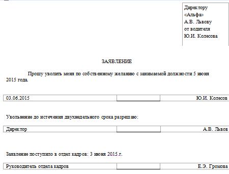 Заявление сотрудника об увольнении по собственному желанию без двухнедельной отработки