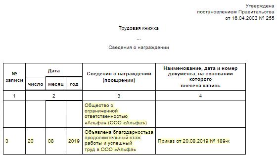 Запись о награждении в трудовой книжке: образец-2019