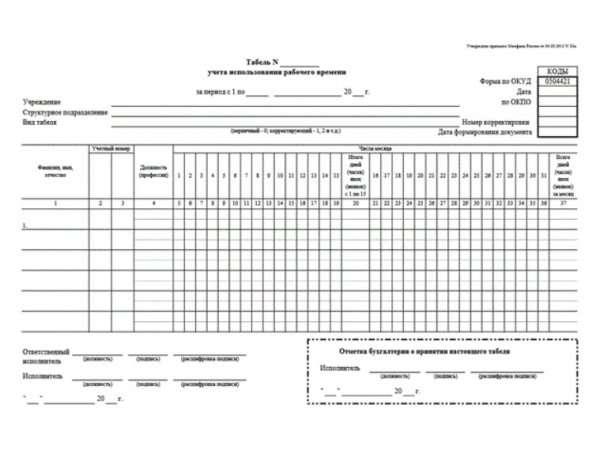 Образец заполнения табеля форма 0504421 новый