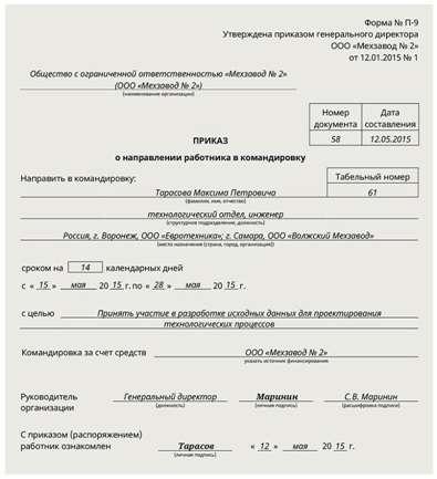 план командировок на год образец