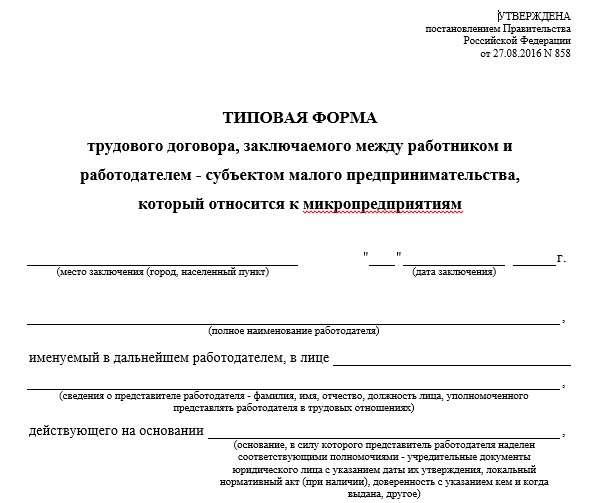 Типовой трудовой договор для микропредприятий Статьи Журнал  Типовой трудовой договор для микропредприятий