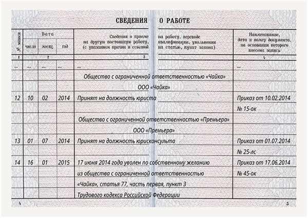 внесение пропущенной записи в трудовую книжку образец