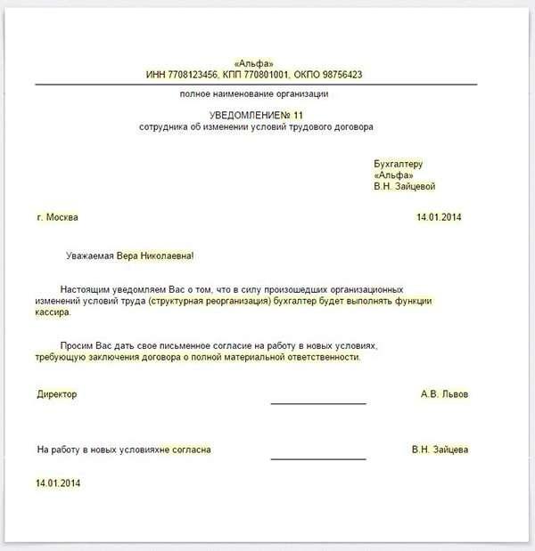 модификация изменение должностной инструкции нарушение img-1